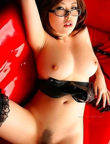 Rio Hamasaki is playing with her wonderful tits for you