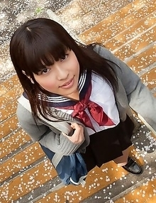 Young japanese Yuuri Shiina in school uniform is so cute while walking