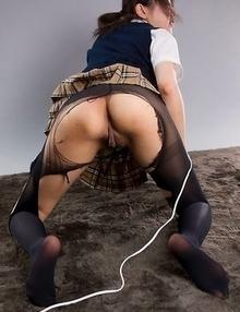 Slutty schoolgirl Karina Oshima mounts a vibrator, hunched over and horny AF